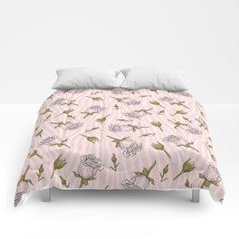 Pink Rose Buds on Animal Print Comforters