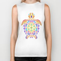 turtle Biker Tanks featuring Turtle by ArtLovePassion