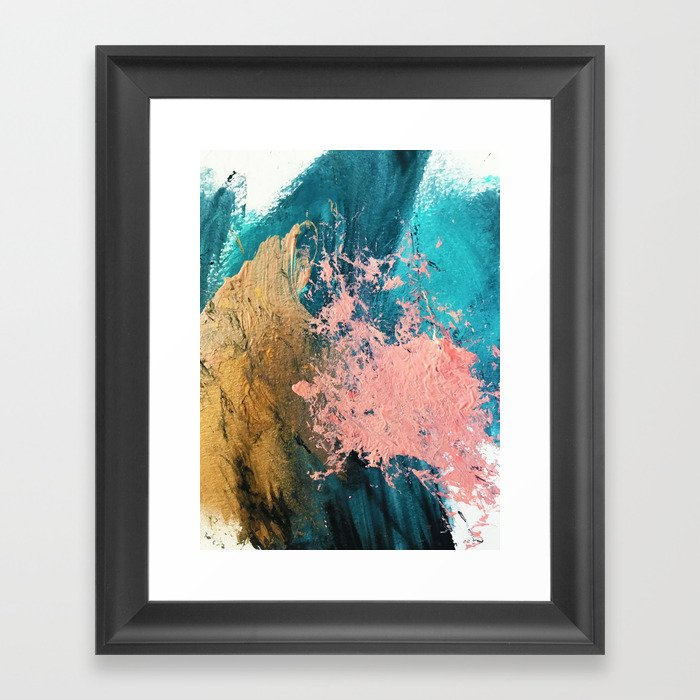 Coral Reef [1]: colorful abstract in blue, teal, gold, and pink Gerahmter Kunstdruck