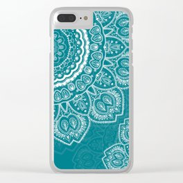Mandala in White on Teal Clear iPhone Case