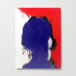 Abstract Blue White and Red Painting Minimalist Metal Print