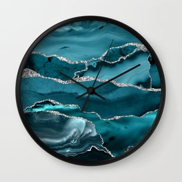 Glamour Turquoise Blue Bohemian Watercolor Marble With Silver Glitter Veins Wall Clock