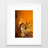 orange pattern Framed Art Prints featuring ORANGE PATTERN by Ylenia Pizzetti