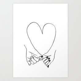 Pinky Promise His and Hers Romantic Love Illustration Art Print