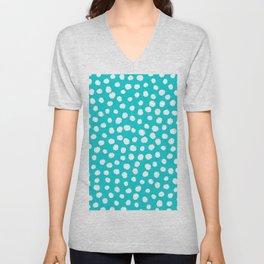Keep me Wild Animal Print - Aqua with White Spots Unisex V-Neck
