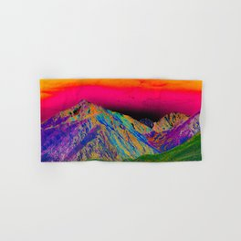 California's Sierra Mts-Digital Art, Green & Purple Hand & Bath Towel