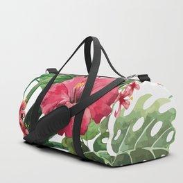 Tropical- Hibiscus and fern Duffle Bag