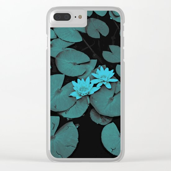 Lily pad in blue nocturne Clear iPhone Case