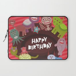 Happy birthday Funny monsters card Laptop Sleeve