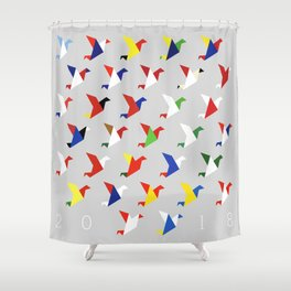 FIFA 2018 Inspired Paper Cranes Shower Curtain