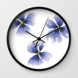 Pretty Purple Pansies in watercolor Wall Clock
