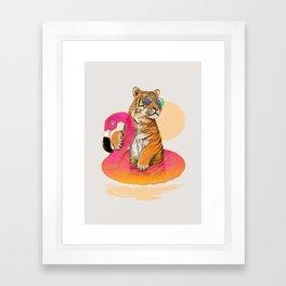 Chillin (Flamingo Tiger) Framed Art Print