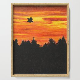 Sunset sky with bird Serving Tray