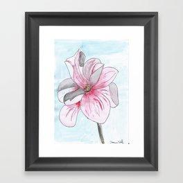 Magnolia Flower watercolor Framed Art Print