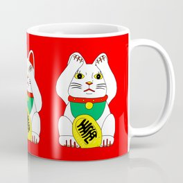 Three Wise Lucky Cats on Red Coffee Mug