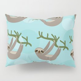 Three-toed sloth on green branch blue background Pillow Sham