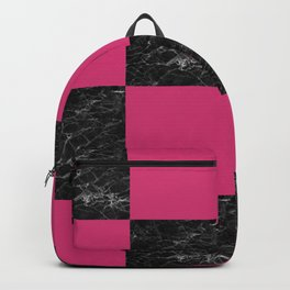 Elegant black marble & hot pink checkered Backpack