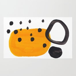 Mid Century Abstract Black & Yellow Fun Pattern Funky Playful Juvenile Shapes Polka Dots Rug
