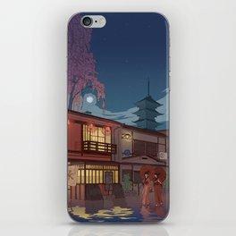 Kyoto at night iPhone Skin