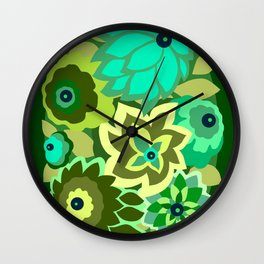CAMBRIA, ART DECO FLORALS: GREEN SCENE Wall Clock