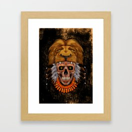 Indian Native Lion Head Sugar Skull Framed Art Print