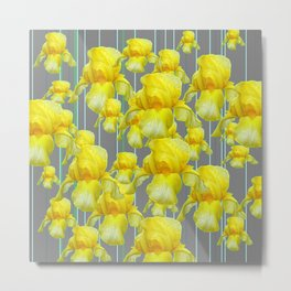 OODLES OF YELLOW IRIS GREY GARDEN ART Metal Print