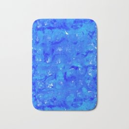 Tie Dye Shibori Water Cubes in Ocean Blue Bath Mat