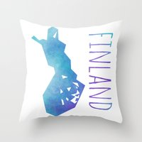 finland Throw Pillows featuring Finland by Stephanie Wittenburg