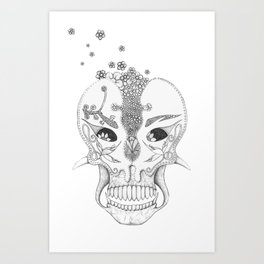 Sugar & Flower Skull Art Print