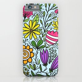 Mixed colorful flowers pattern iPhone Case