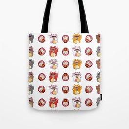 Colorful Maneki - neko pattern design Tote Bag