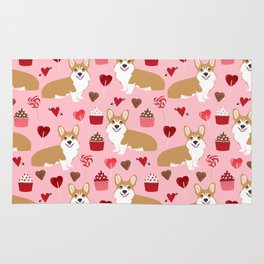 Corgi cupcakes valentines day cute love hearts dog breed corgi crew welsh corgis gifts Rug