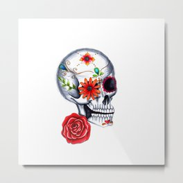Day of The Dead Skull Metal Print