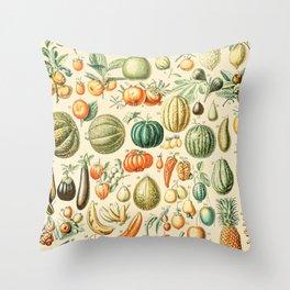 Autumn Harvest // Fruits by Adolphe Millot XL 19th Century Pumpkins Science Textbook Artwork Throw Pillow