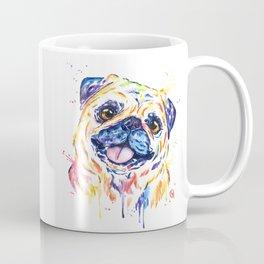Fawn Pug Colorful Watercolor Pet Portrait Painting Coffee Mug