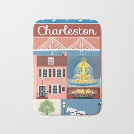 Charleston, South Carolina - Collage Illustration by Loose Petals Bath Mat