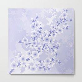 Lavender Monochrome Cherry Blossoms Metal Print
