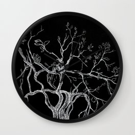 Graphic art, tree leaves, white ink Wall Clock