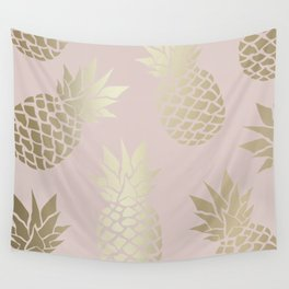 Puce Color, Pineapple Art, Pink Aesthetic with Gold Wall Tapestry