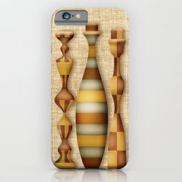Digital Candlestick Holders with Wood Inlay and Burlap Background iPhone Case
