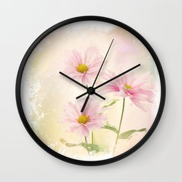 Digital painting of Pink Daisy Flowers Wall Clock