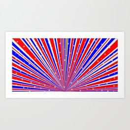 Color Rays Background With Stars Art Print