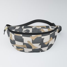 Chess Figures Pattern -Leather and gold Fanny Pack