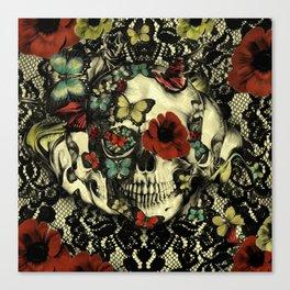 Vintage Gothic Lace Skull Canvas Print
