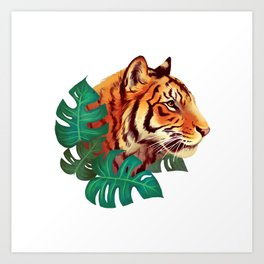 Monstera Tiger Art Print