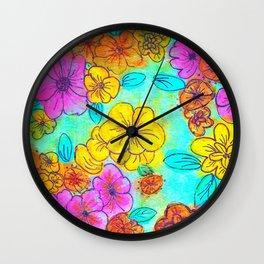 Fun Flowers Wall Clock