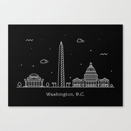 Washington D.C. Minimal Nightscape / Skyline Drawing Canvas Print