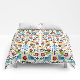 flower folk art Comforters
