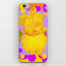 Modern Yellow Iris Purple Patterns Flowers art iPhone Skin