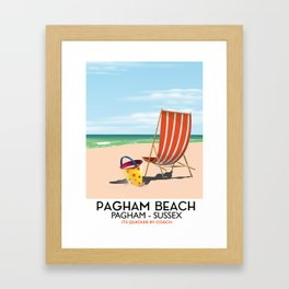 Pagham Beach West Sussex travel poster, Framed Art Print
